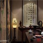 220平米中式风餐厅挂画背景墙装修图