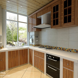 地中海厨房桑拿板吊顶装修效果图