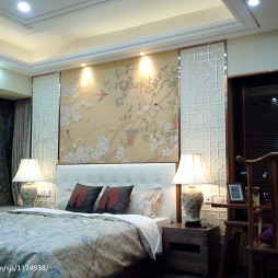 新中式雅居卧室十字绣图案背景墙装修效果图大全
