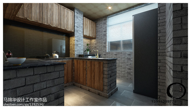 现代中式风格木质复古厨房橱柜装修效果