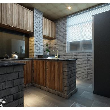 现代中式风格木质复古厨房橱柜装修效果图片