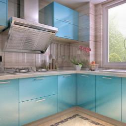 蓝色烤漆橱柜装修图片
