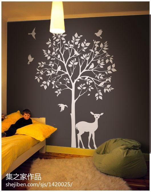广州室内手绘墙画_样板间设计儿童房室内手绘墙画图片 – 设计本装修效果图
