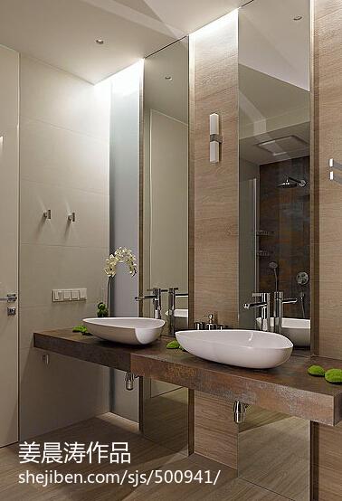 洗脸台_美式简约卫生间洗脸盆图片 – 设计本装修效果图