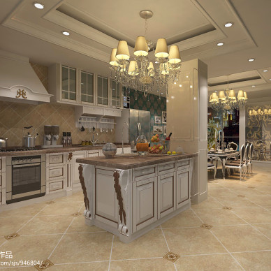 简约欧式厨房餐厅吊灯装修效果图