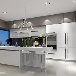 现代时尚厨房餐厅整体装修效果图
