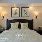 简约美式卧室床头背景图片