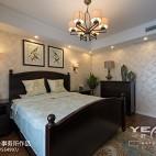 简约美式卧室背景墙装修图片