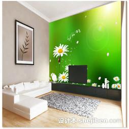 绿色客厅电视墙壁纸效果图