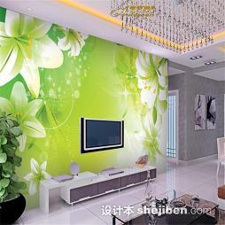 绿色欧式风格电视墙壁纸