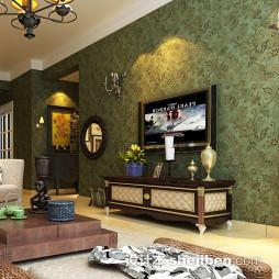 绿色田园风格电视墙壁纸