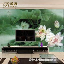 绿色现代简约电视墙壁纸效果图