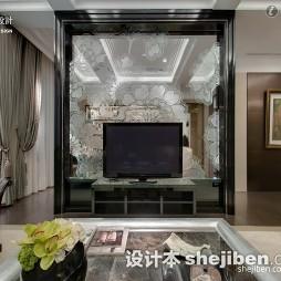 整体现代雕花玻璃电视墙装修图片