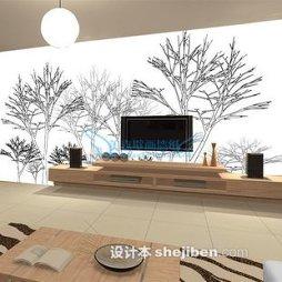 黑白壁纸电视墙设计