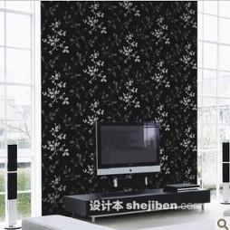 黑白壁纸电视墙设计效果图