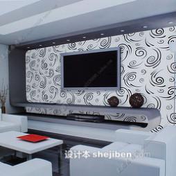 黑白壁纸电视墙效果