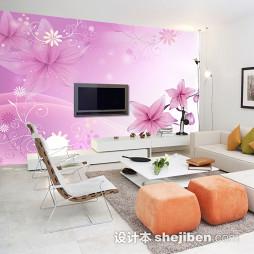 紫色壁纸电视墙效果图