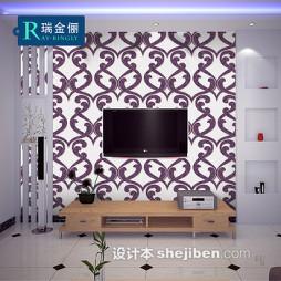 紫色壁纸电视墙装修效果