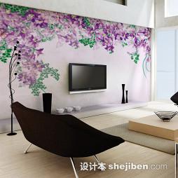 紫色壁纸电视墙装修效果图