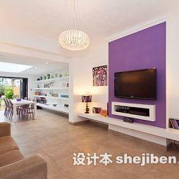 紫色大客厅壁纸电视墙效果图