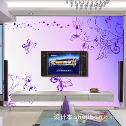 紫色家装壁纸电视墙图片