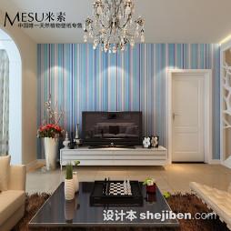 客厅竖条壁纸电视墙图片