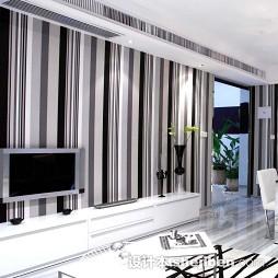 客厅竖条壁纸电视墙装修效果图大全2017图片