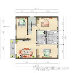 三室一厅楼房平面图