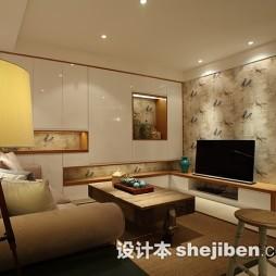 日式家装客厅影视墙图片