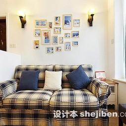 壁灯沙发背景墙照片墙效果图
