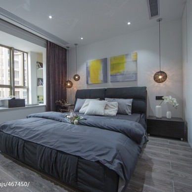 黑白现代风格卧室窗户装修图