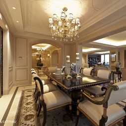吊顶水晶灯设计法式餐厅装修图片
