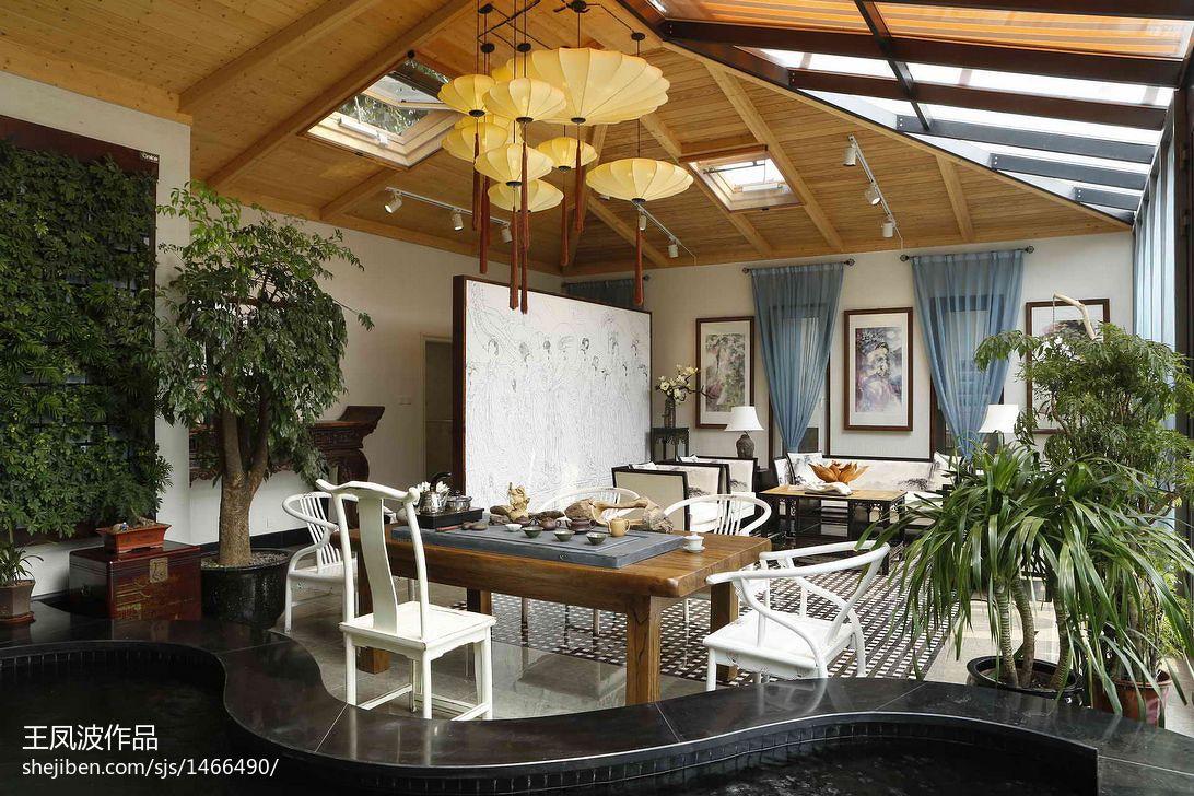 装饰公司效果图展示_混搭风格办公室生态木吊顶装修效果图 – 设计本装修效果图