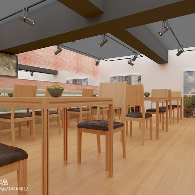 混搭风格快餐店桌椅设计效果图