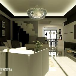 复式楼简约式电视背景墙装修设计