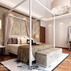 卧室床头背景墙中式装修图片
