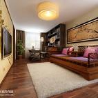 中式休闲区电视墙装修图片欣赏