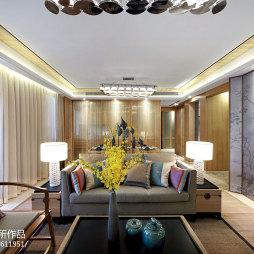 客厅花鸟墙纸木纹屏风设计中式风格装修图片