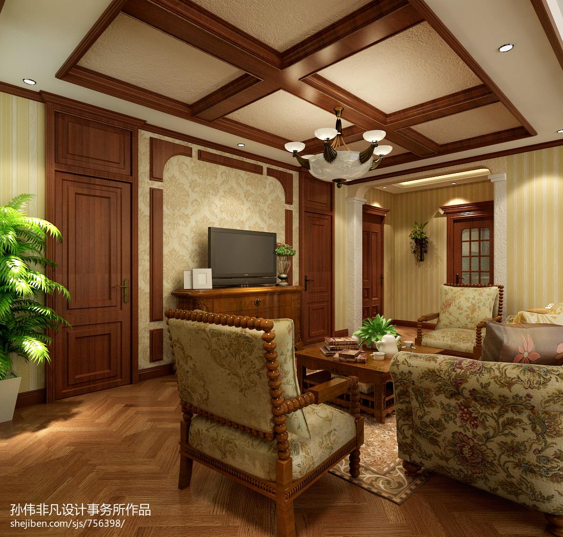 美式风格电视背景墙_美式客厅电视背景墙墙纸装修效果图欣赏 – 设计本装修效果图