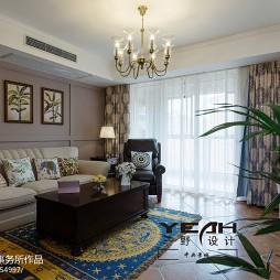 休闲美式客厅窗帘图片