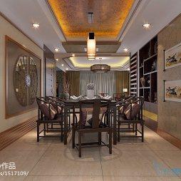 中式三居博古架装修效果图大全