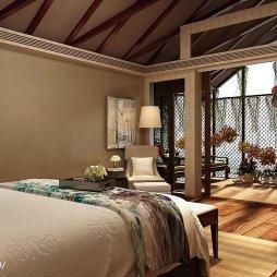 中式酒店套房落地窗装修设计