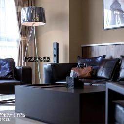 现代风格室内客厅黑色真皮沙发家居装修设计3000例