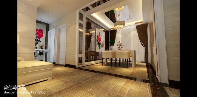 中式餐厅水墨挂画背景墙效果图大全