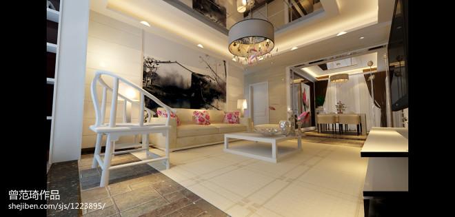 中式客厅水墨画沙发背景墙效果图大全