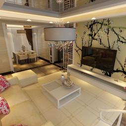 中式客厅隔断电视背景墙室内装修效果图大全