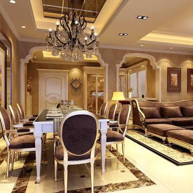 武夷水岸简欧风情餐厅豪华水晶吊顶设计效果图