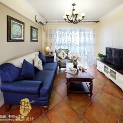 美式乡村风格客厅窗帘装修效果图大全