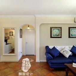 美式乡村风格客厅窗帘图片