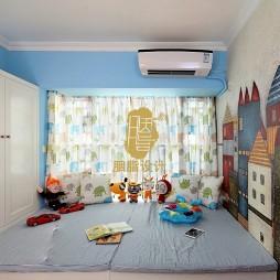 二居室美式乡村风格儿童房涂鸦墙装修图片